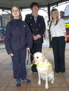 The reporter meets Ushi, Della, us and the branch organiser for the Antrim And Ballymena fundraising branch of guide dogs