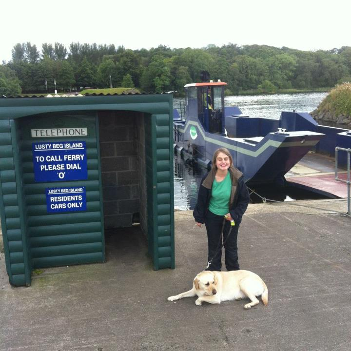 Me and Ushi with the ferry that goes across Lusty Beg Island in the background