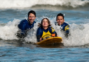 Me on the surf board with the two instructors behind me.  We are in the water.